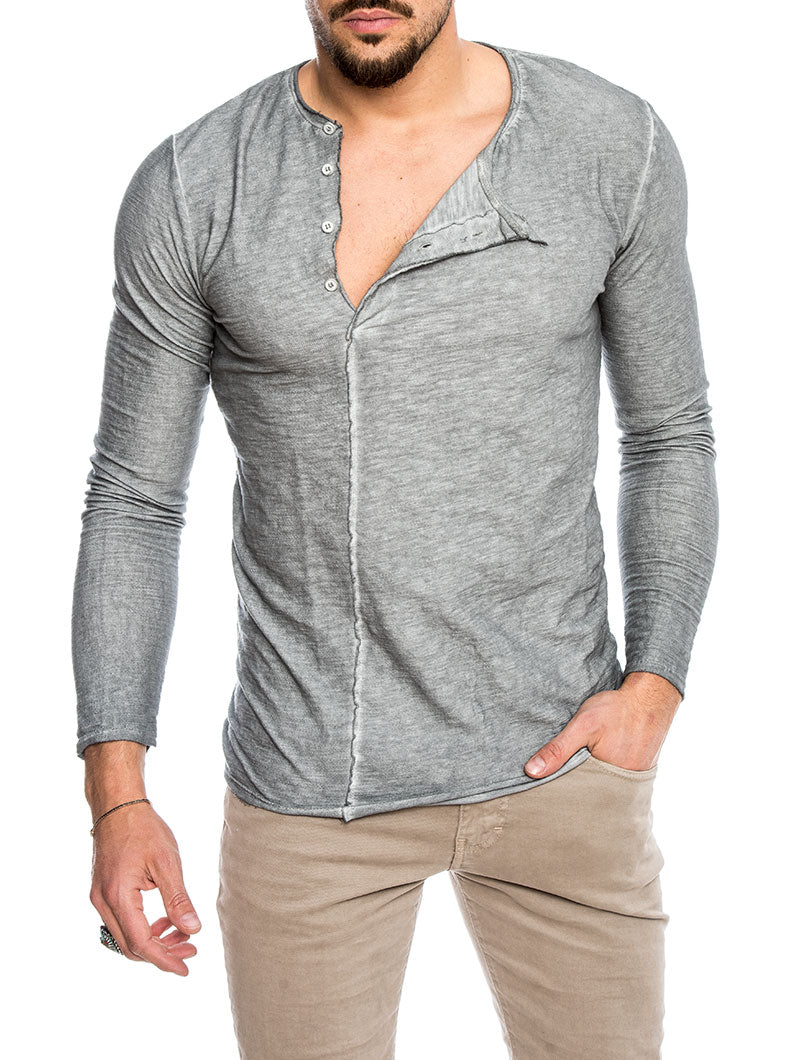 MASHIRA COTTON LONG SLEEVE T-SHIRT IN GREY