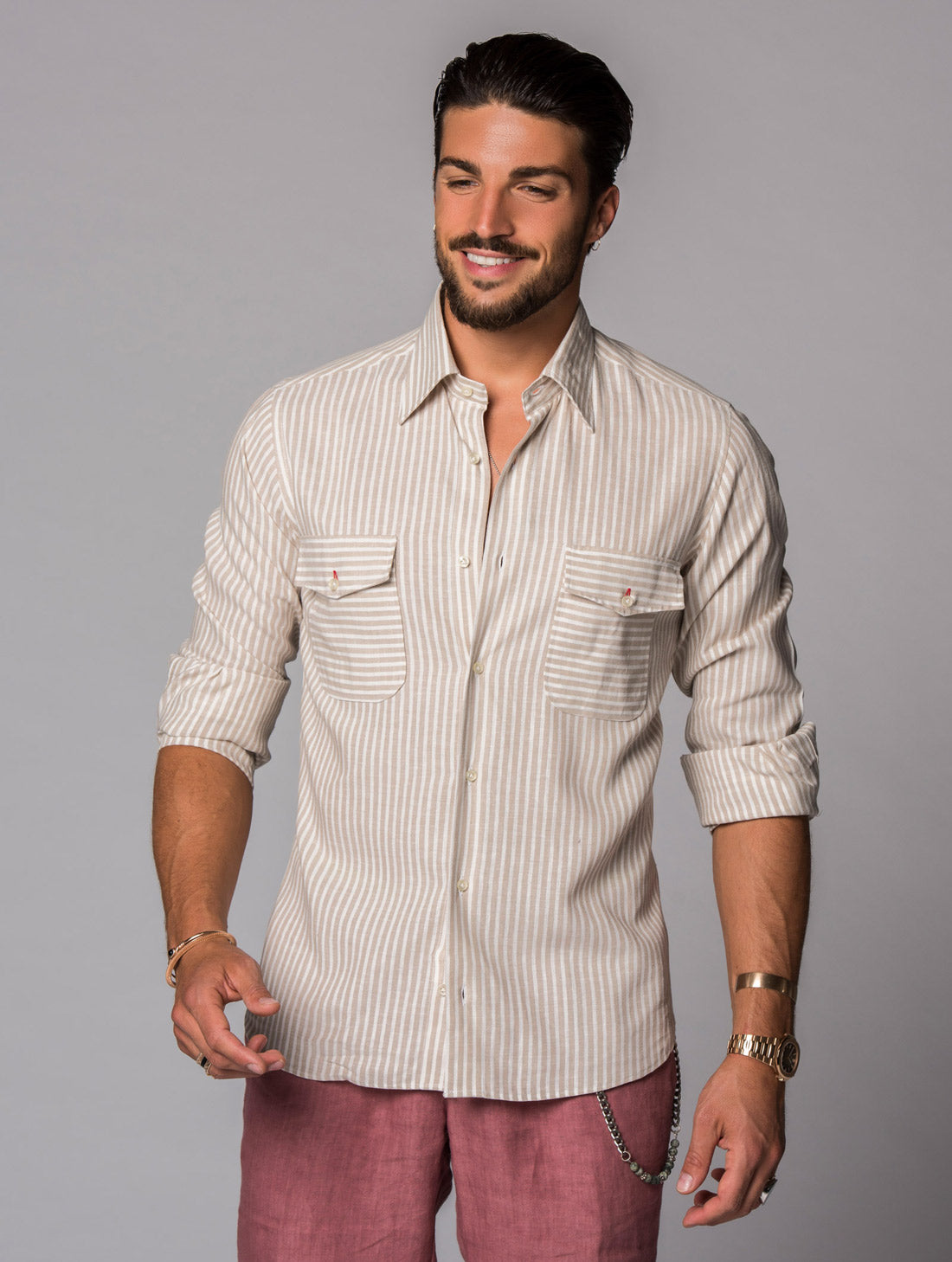 LINEN SHIRT IN BENGAL BEIGE
