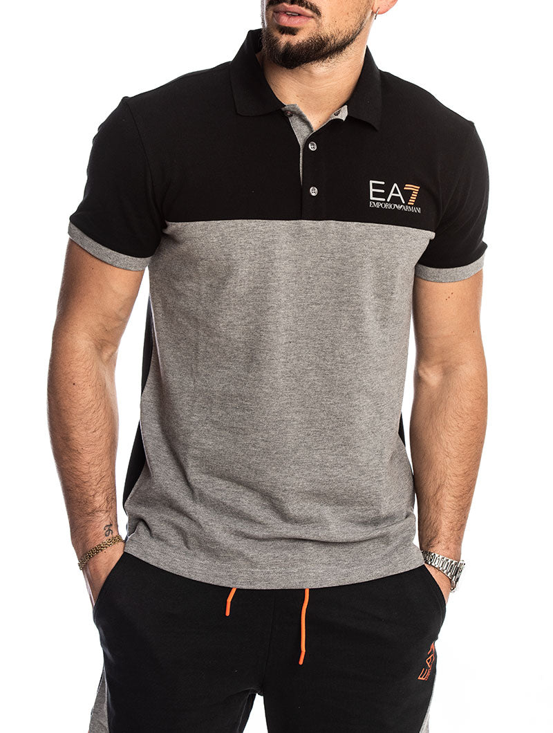 sale retailer amazing price real deal EA7 POLO IN BLACK AND GREY