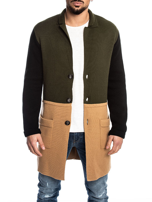 22cc155cc7 COLOR BLOCK KNITTED COAT IN GREEN, CAMEL AND BLACK