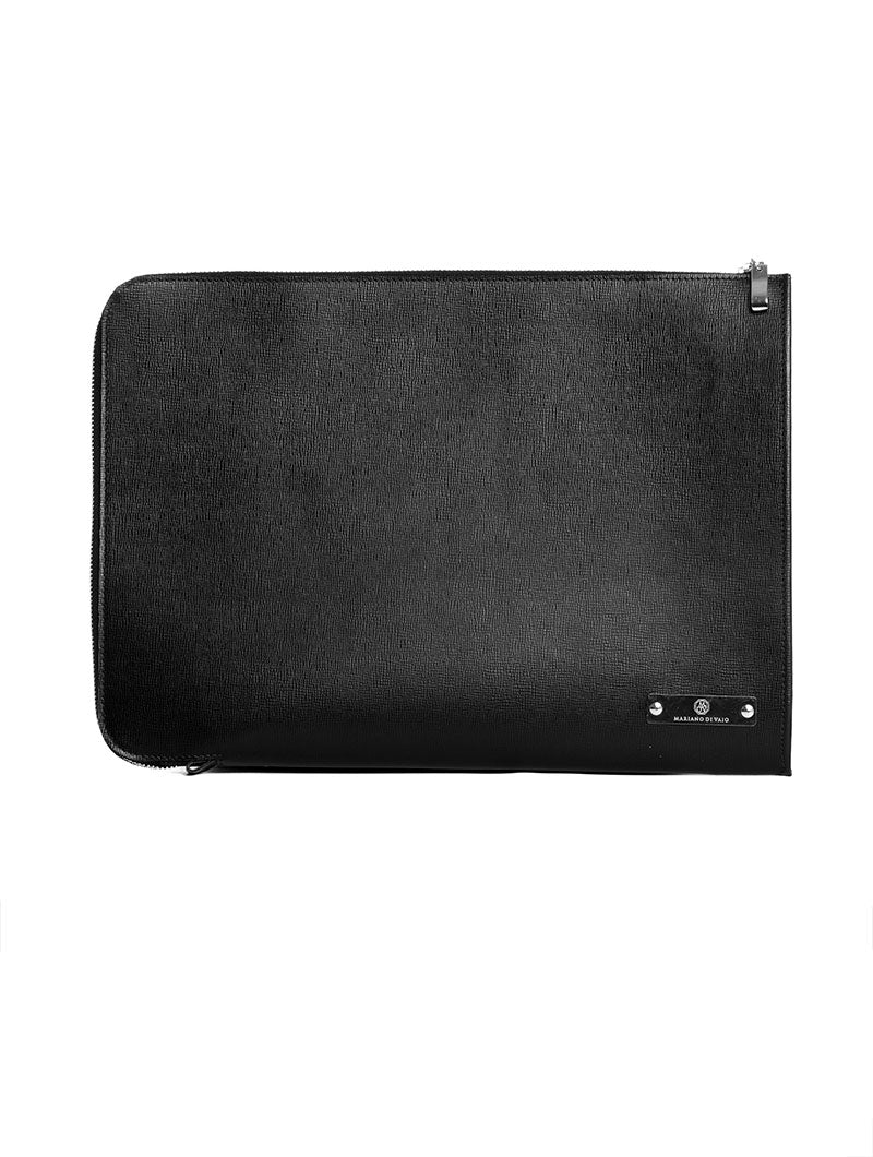 ACCESSORIES | CALGARY LAPTOP COVER IN BLACK | LEATHER | MdV