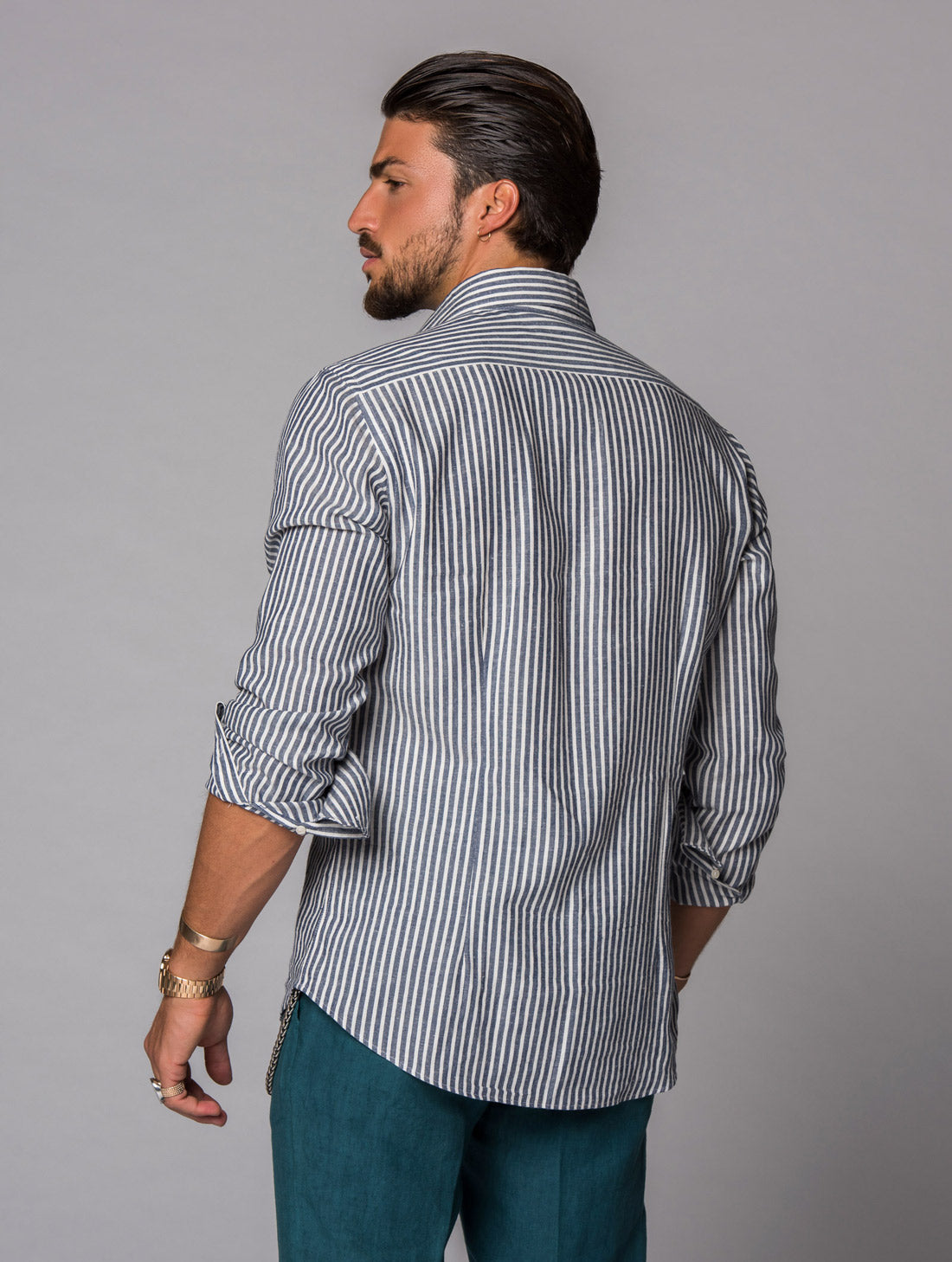 LINEN SHIRT IN BENGAL BLUE