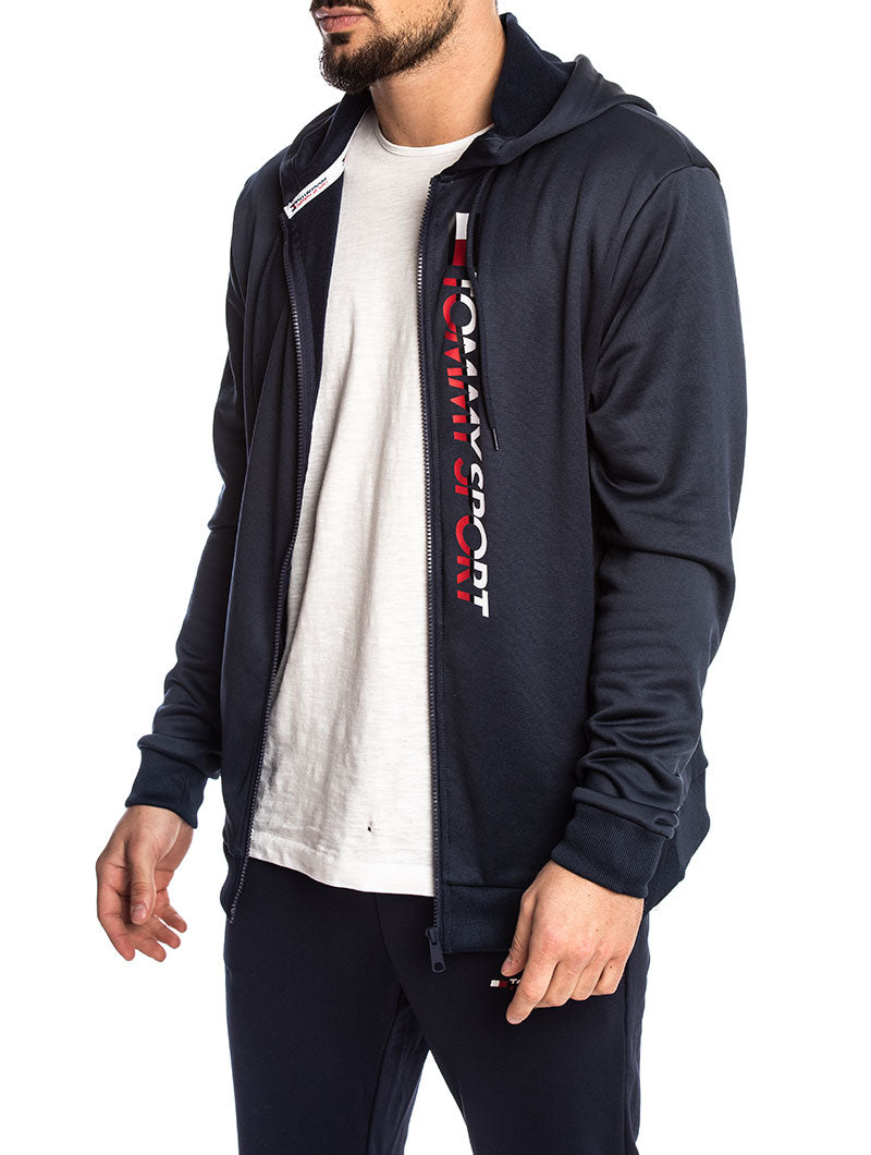 TOMMY SPORT ZIP THROUGH LOGO HOODIE IN SPORT NAVY