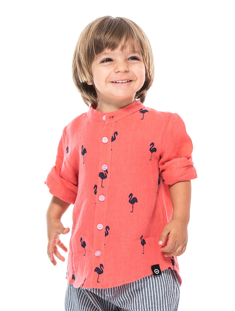 FLAMING KID'S SHIRT IN CORAL