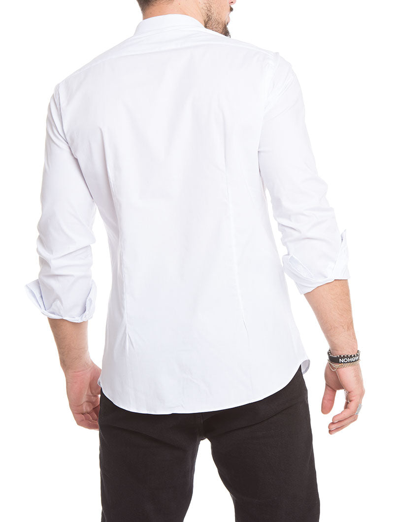 11558f4dd MEN'S CLOTHING | KOREAN COLLAR SHIRT IN WHITE | NOHOW SUMMER ...