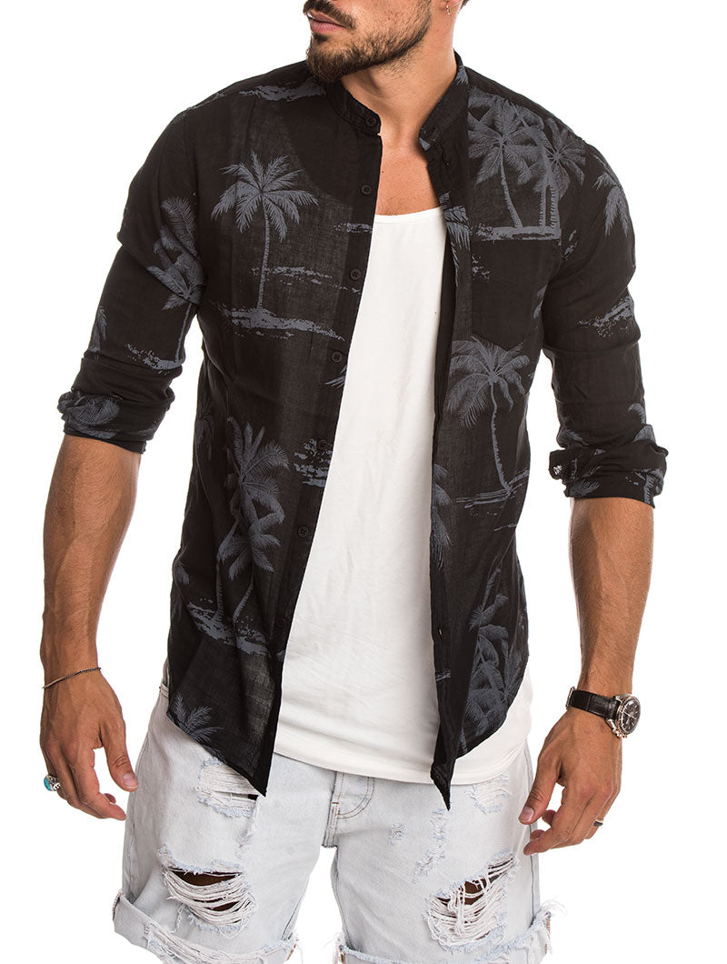 BLACK MIAMI PALMS SHIRT