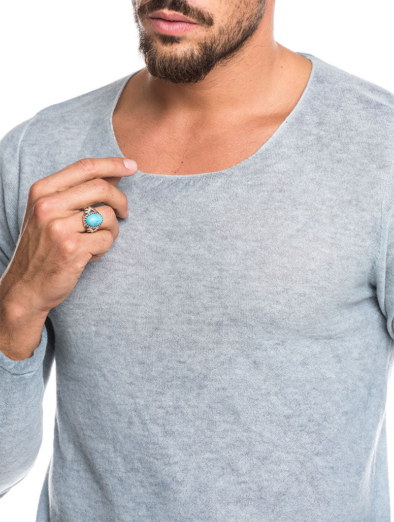 MEN'S CLOTHING | GILAN CASHMERE SWEATER IN LIGHT BLUE | NOHOW