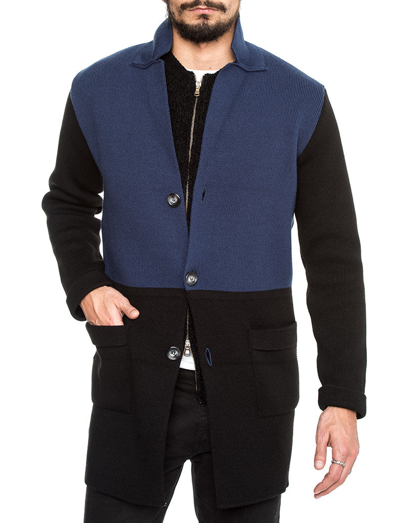 COLOR BLOCK KNITTED COAT IN BLUE AND BLACK
