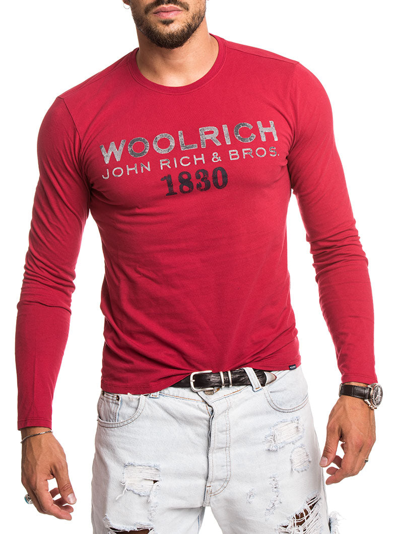MEN'S CLOTHING | RED LOGO LONG TEE | COTTON T-SHIRT | WOOLRICH