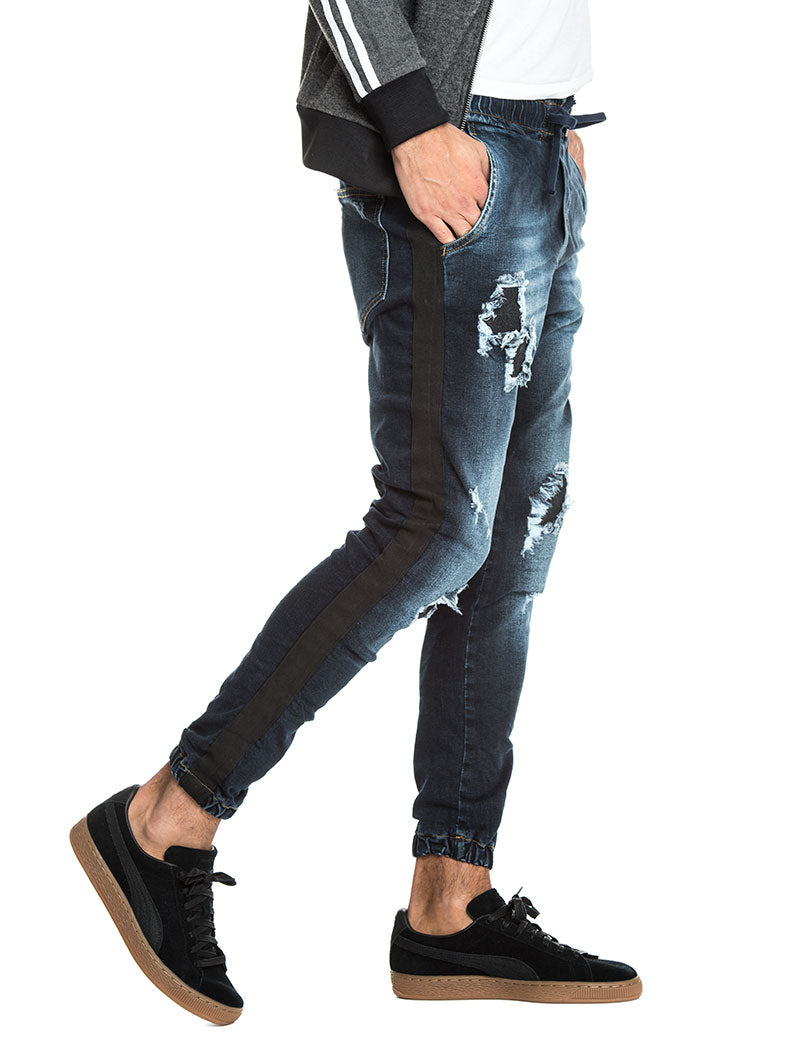 DISTRESSED JEANS WITH BLACK BANDS