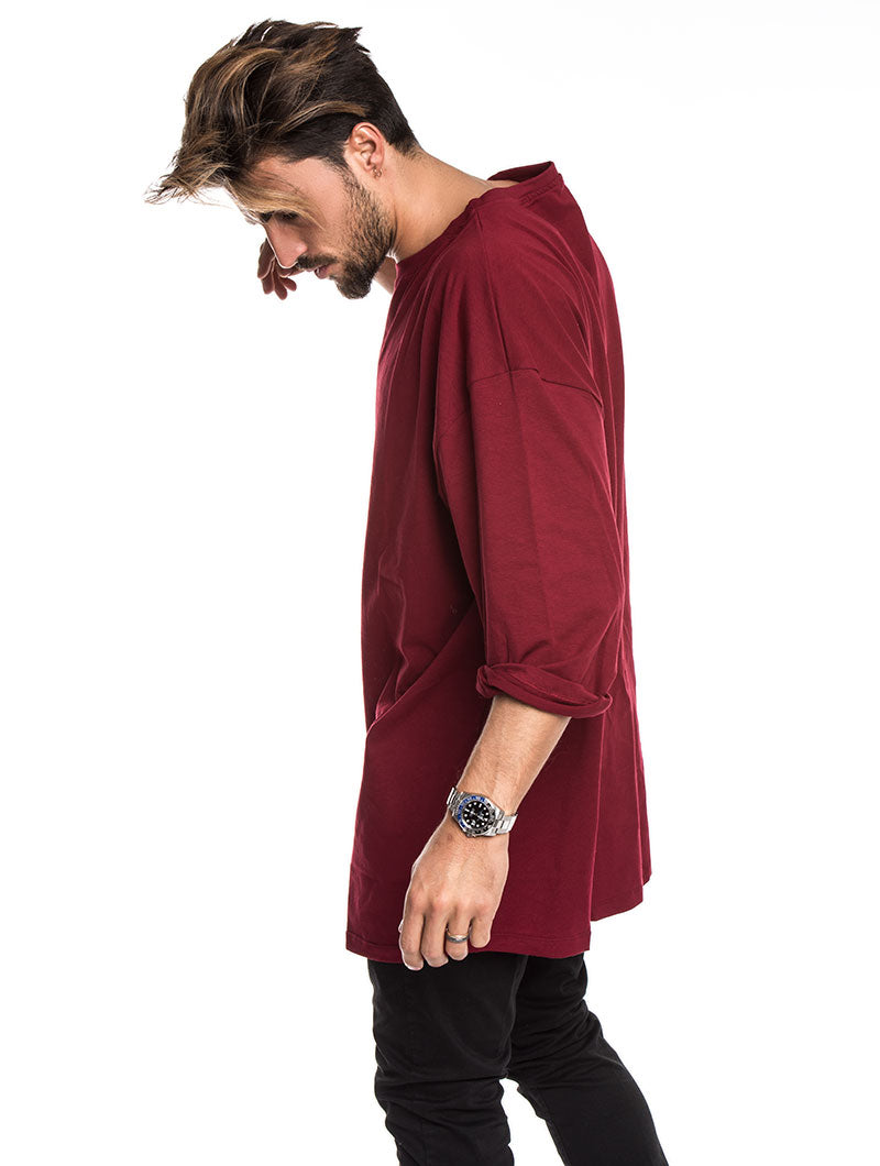 MEN'S CLOTHING | BOSTON OVER T-SHIRT IN BORDEAUX | RELAXED FIT | NOHOW