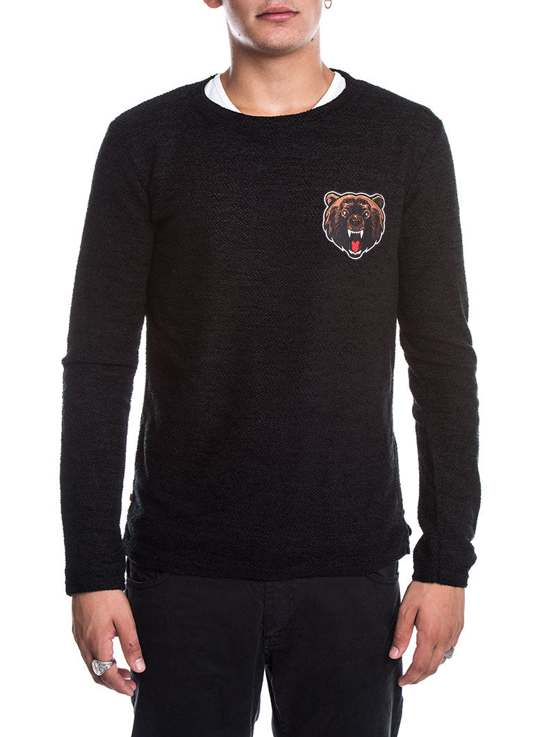 MEN'S CLOTHING | KNITTED SWEATSHIRT IN BLACK | CHEST PATCH | MADE IN ITALY | V2