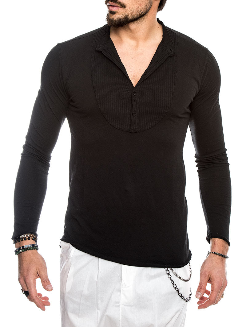 LUXOR COTTON LONG SLEEVES SERAFINO IN BLACK