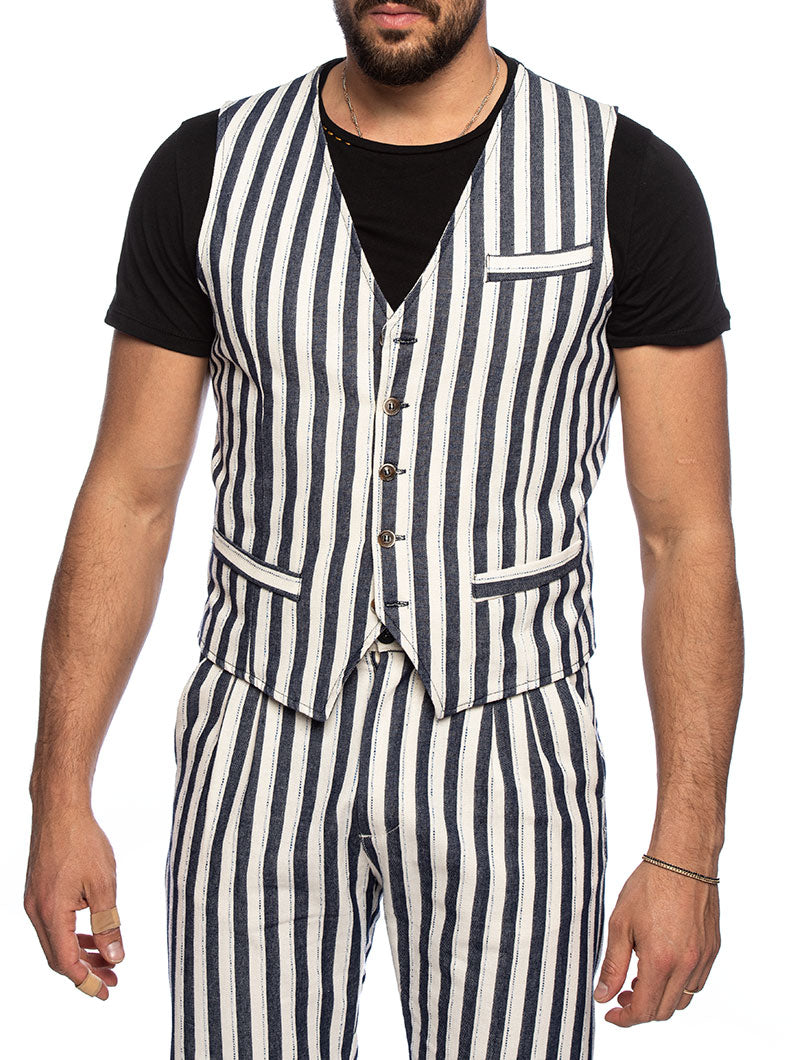 CONNELL VEST SUIT IN BLUE AND WHITE