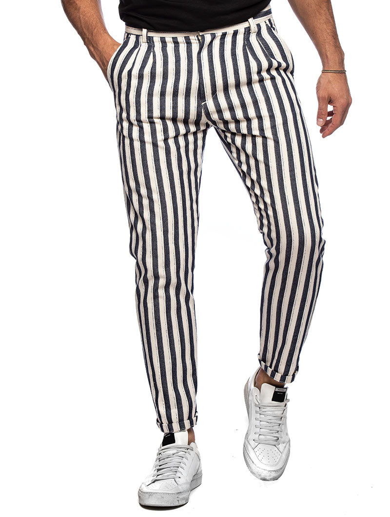 CONNELL CASUAL PANTS IN BLUE AND WHITE