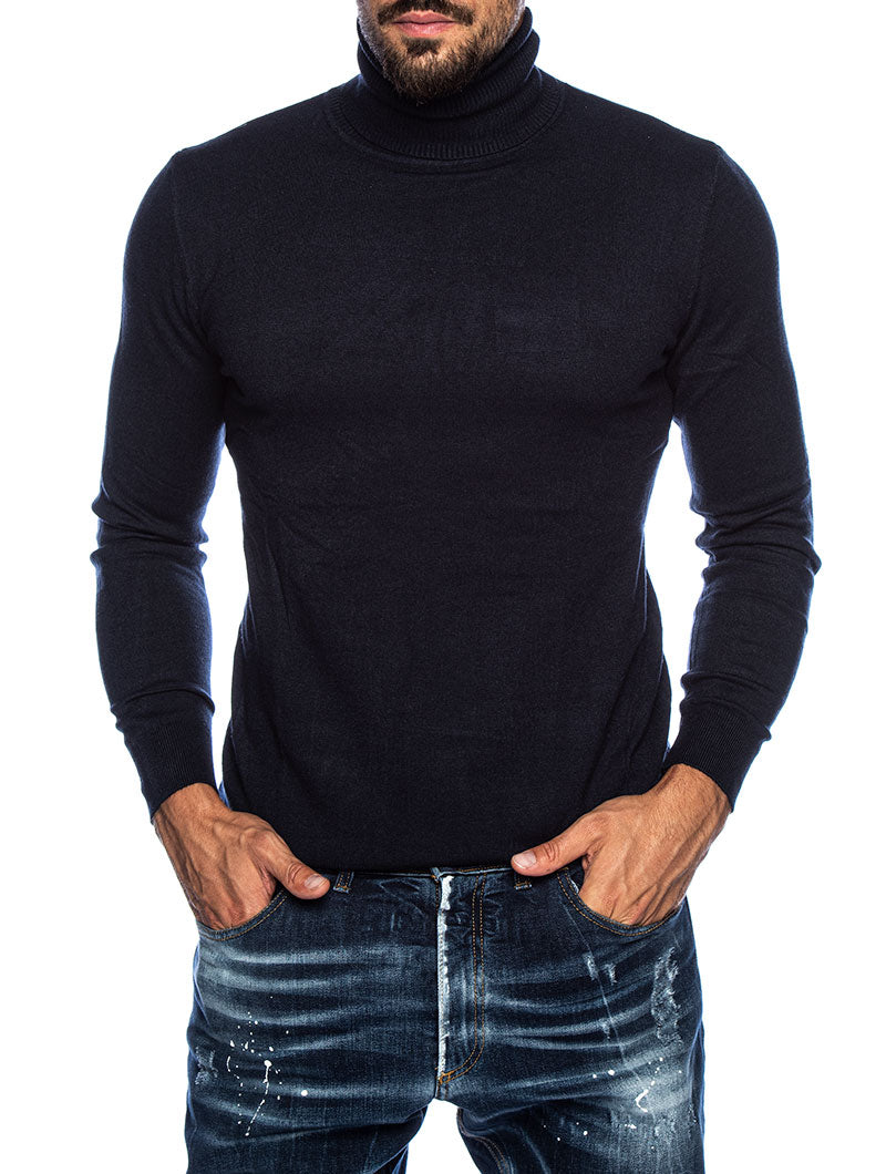 LARRIE ROLLNECK SWEATER IN BLUE NAVY