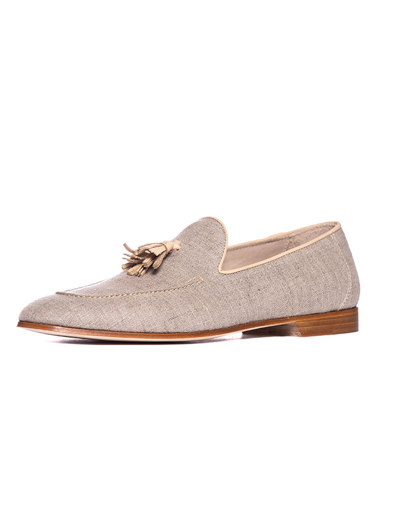 DONATELLO LINEN LOAFERS IN GREY