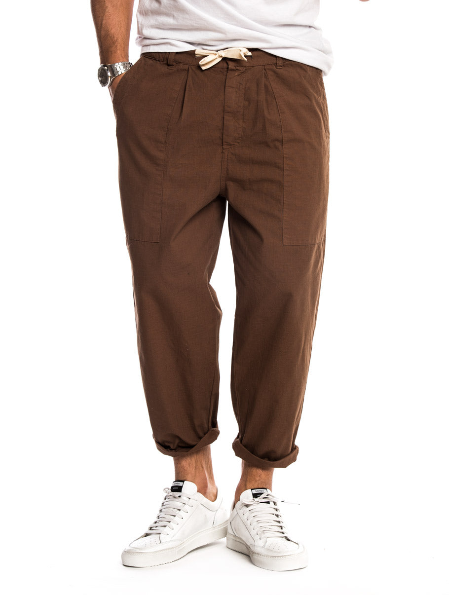 DUNGAREE CASUAL PANTS IN BROWN