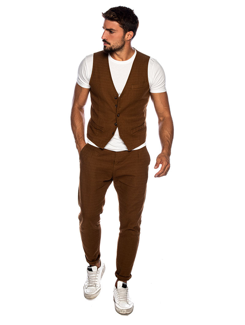 FRANK CASUAL PANTS IN TOBACCO FANTASY