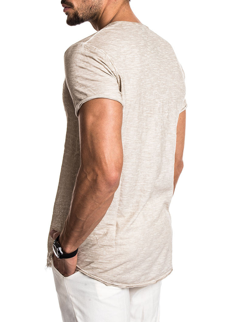 MEN'S CLOTHING | BEIGE TRIANGLE T-SHIRT | LONGLINE CUT | SLIM FIT | NOHOW