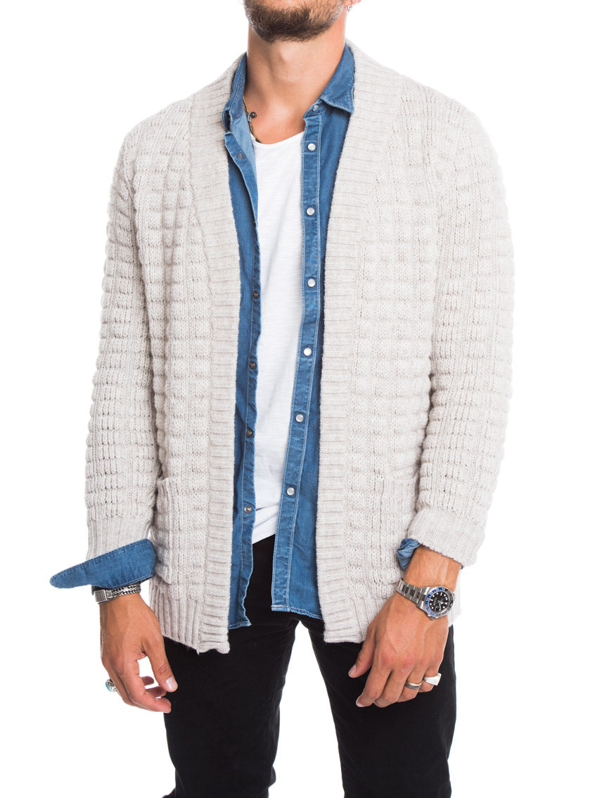 MEN'S CLOTHING | WAFFLE KNIT CARDIGAN IN IVORY | MUSCLE FIT | LONGLINE CUT | NOHOW STREET COUTURE
