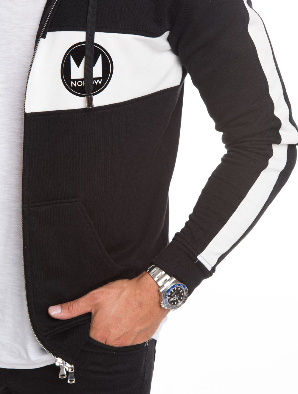 MEN'S CLOTHING | FULL ZIP BLACK HOODIE WITH WHITE STRIPE | BLACK SWEATSHIRT| COTTON | NOHOW