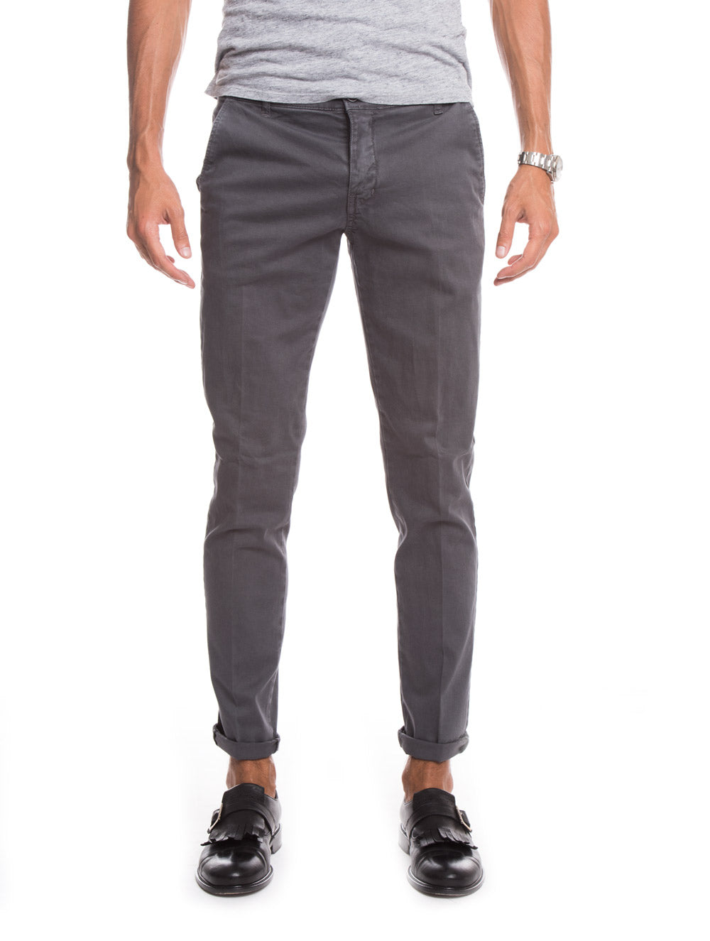 MEN'S CLOTHING | GREY BASIC CASUAL PANTS | CHINO TROUSERS | NOHOW