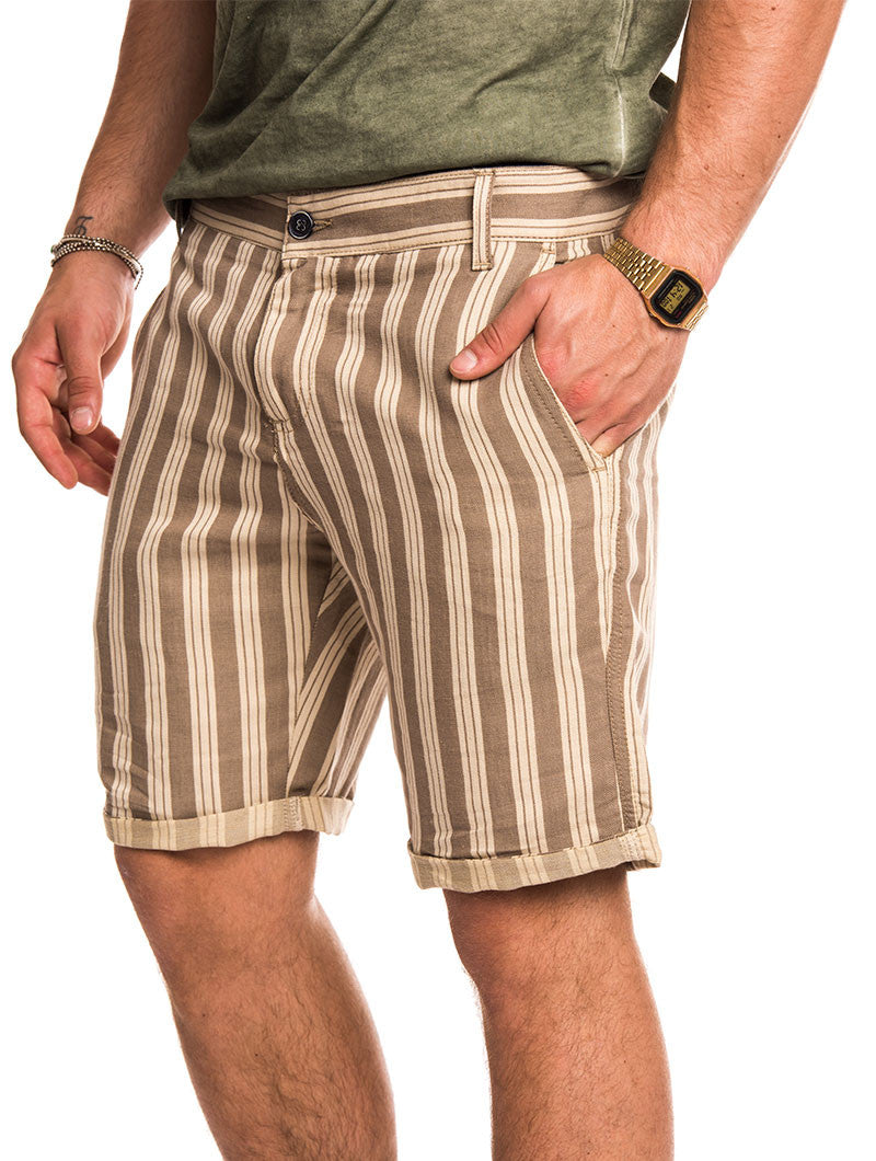 MEN'S CLOTHING | NATURAL COFFEE BERMUDA | CHINO SHORTS | BEIGE | LIGHT BROWN | KNEE LENGTH |NOHOW STREET COUTURE | NOHOW