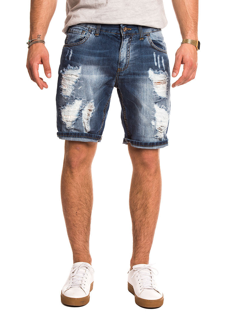MEN'S CLOTHING | BLUE RIPPED BERMUDA | REGULAR FIT | MEN'S SHORTS | DISTRESSED | KNEE LENGTH | FIVE POCKET | NOHOW SUMMER COLLECTION | NOHOW