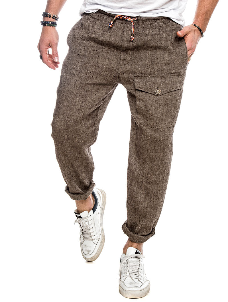 PANEL CASUAL PANTS IN BROWN