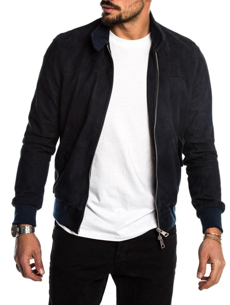 RUSSELL ECO LEATHER JACKET IN BLUE
