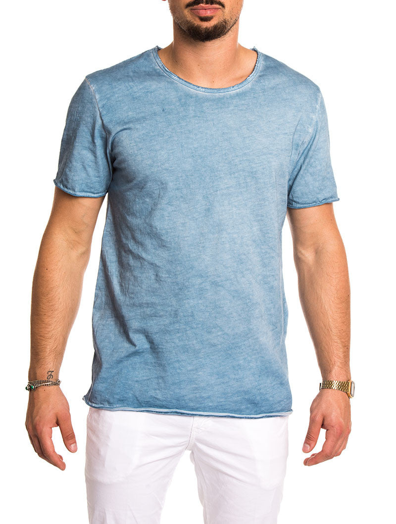 MEN'S CLOTHING | SKY BASIC WASHED T-SHIRT | COTTON | LIGHT BLUE | CREW NECK | SHORT SLEEVES | RAW EDGES | SLIM FIT | NOHOW SUMMER COLLECTION | NOHOW