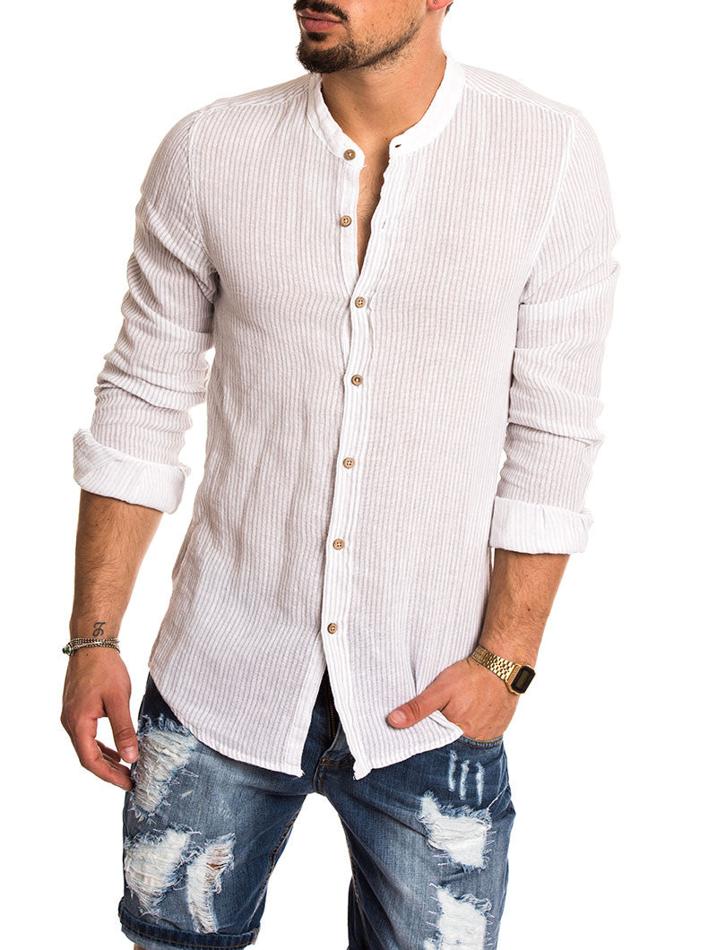 GREY AND WHITE STRIPED LINEN SHIRT