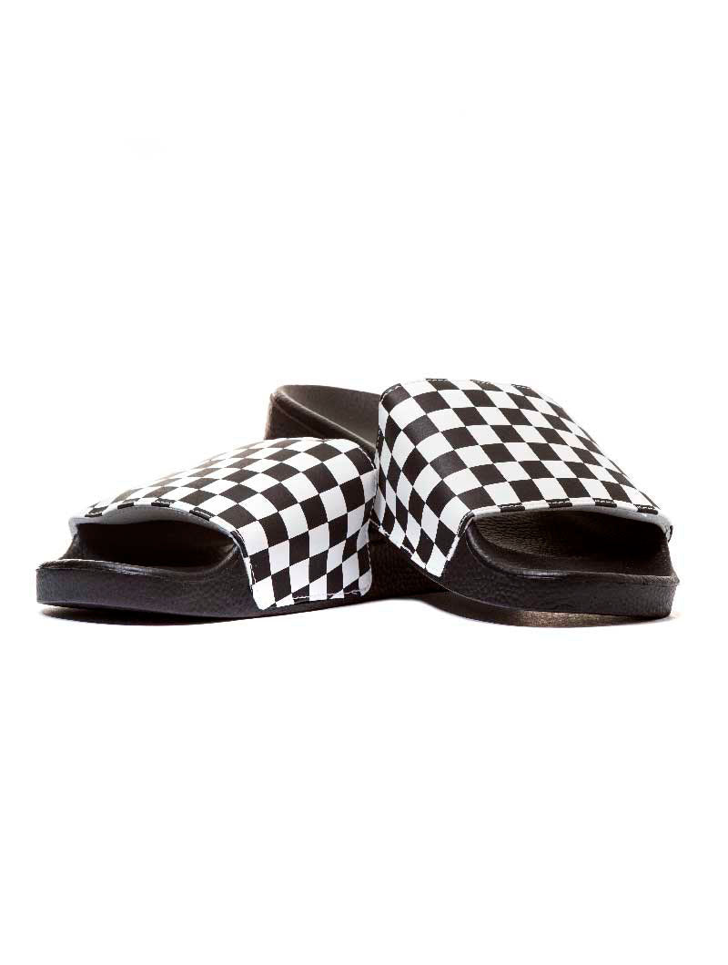 MN SLIDE-ON SANDALS IN BLACK AND WHITE