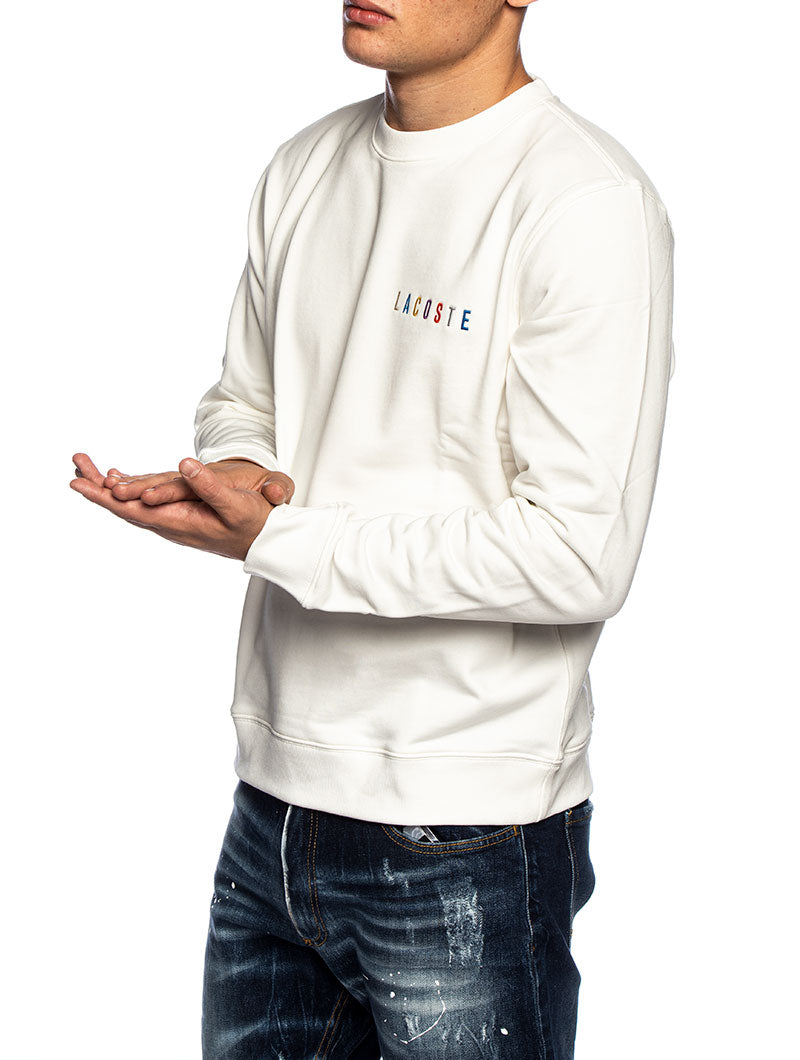 LACOSTE LOGO SWEATSHIRT IN WHITE