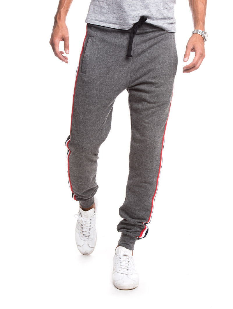 MEN'S CLOTHING | GREY BAND SWEATPANTS | 100% COTTON | NOHOW