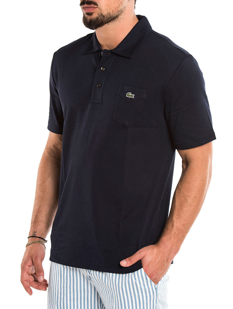 LACOSTE SHORT SLEEVED POLO IN BLUE NAVY