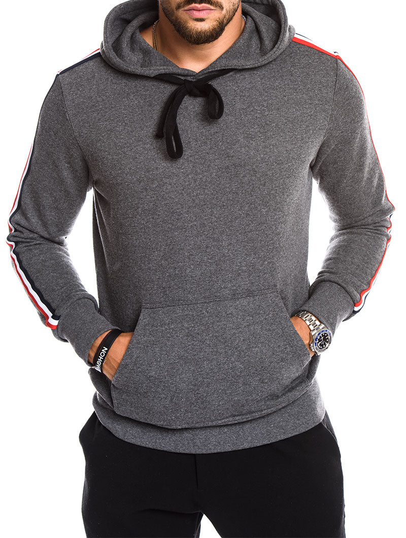MEN'S CLOTHING | HOODED POCKET GREY SWEATSHIRT | MELANGE FINISH | NOHOW