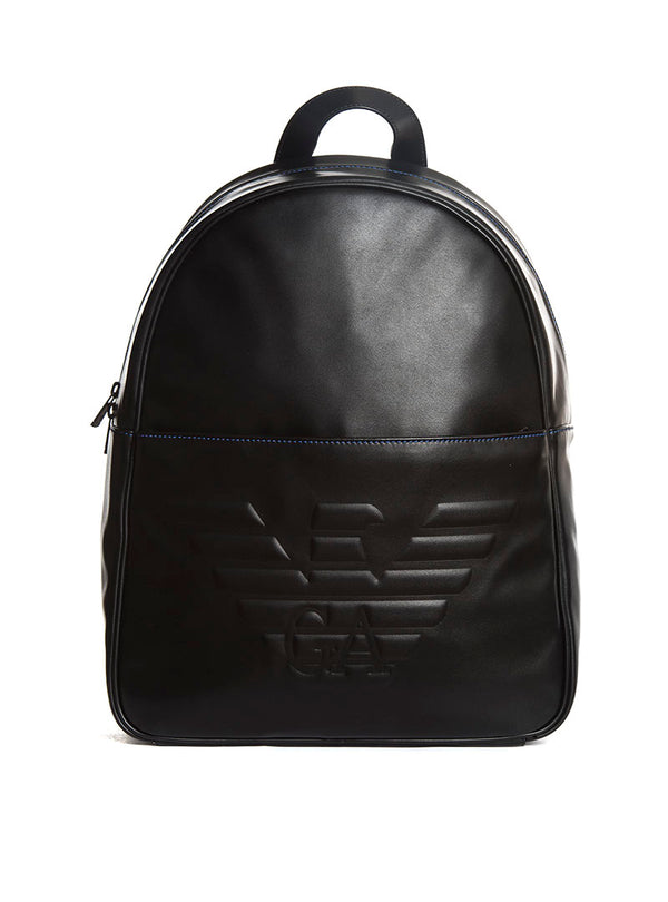 MAN WOVEN BACKPACK IN BLACK AND BLUE · Emporio Armani 603df9670032b
