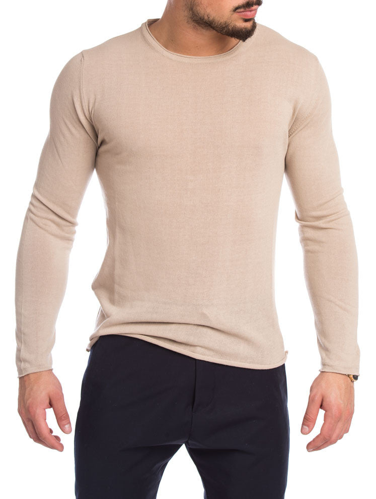 MEN'S CLOTHING | BEIGE CREW NECK SWEATER | LIGHTWEIGHT KNIT | BEIGE | LONG SLEEVE | NOHOW STREET COUTURE | NOHOW