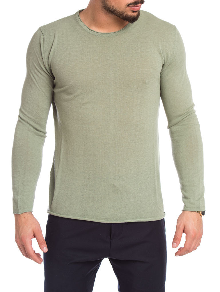 MEN'S CLOTHING | GREEN CREW NECK SWEATER | LIGHTWEIGHT COTTON KNIT | SAGE | LONG SLEEVE | COTTON | NOHOW STREET COUTURE | NOHOW