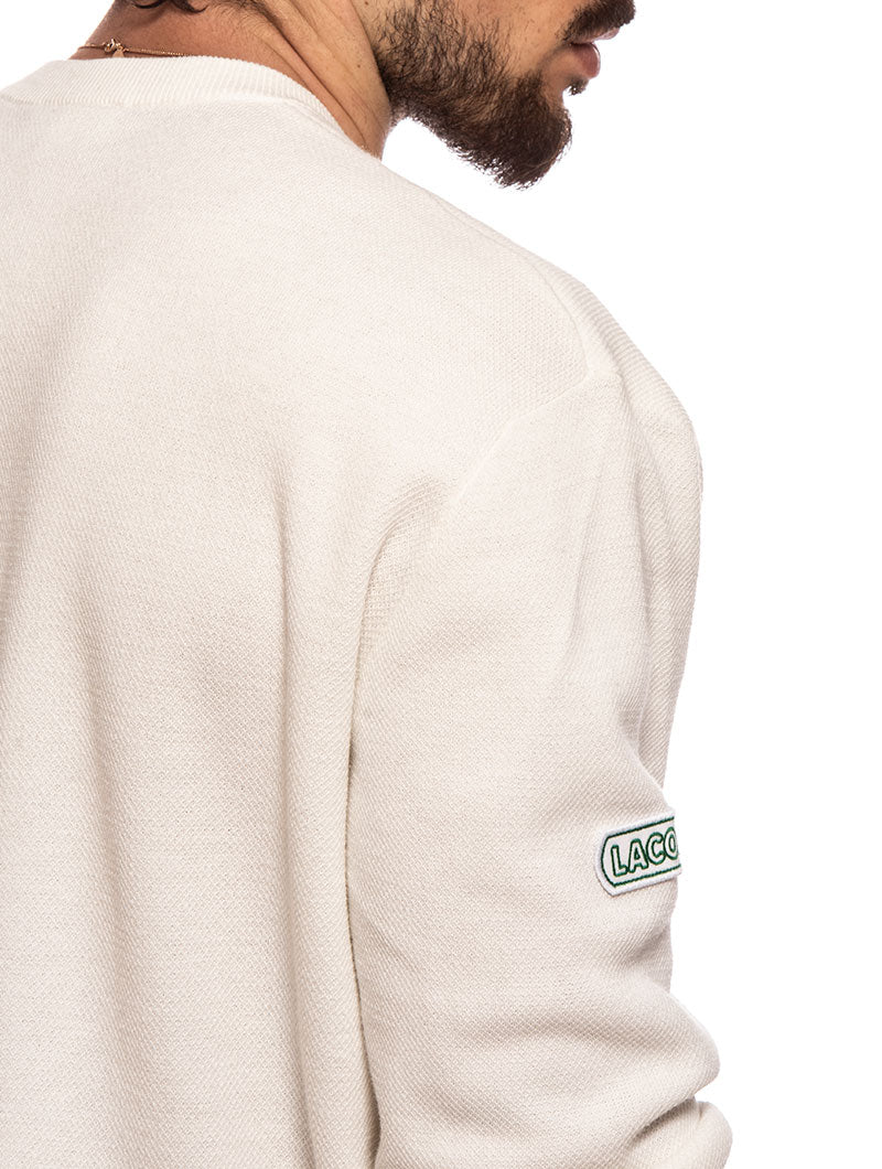 LACOSTE HERITAGE KNIT SWEATER IN WHITE