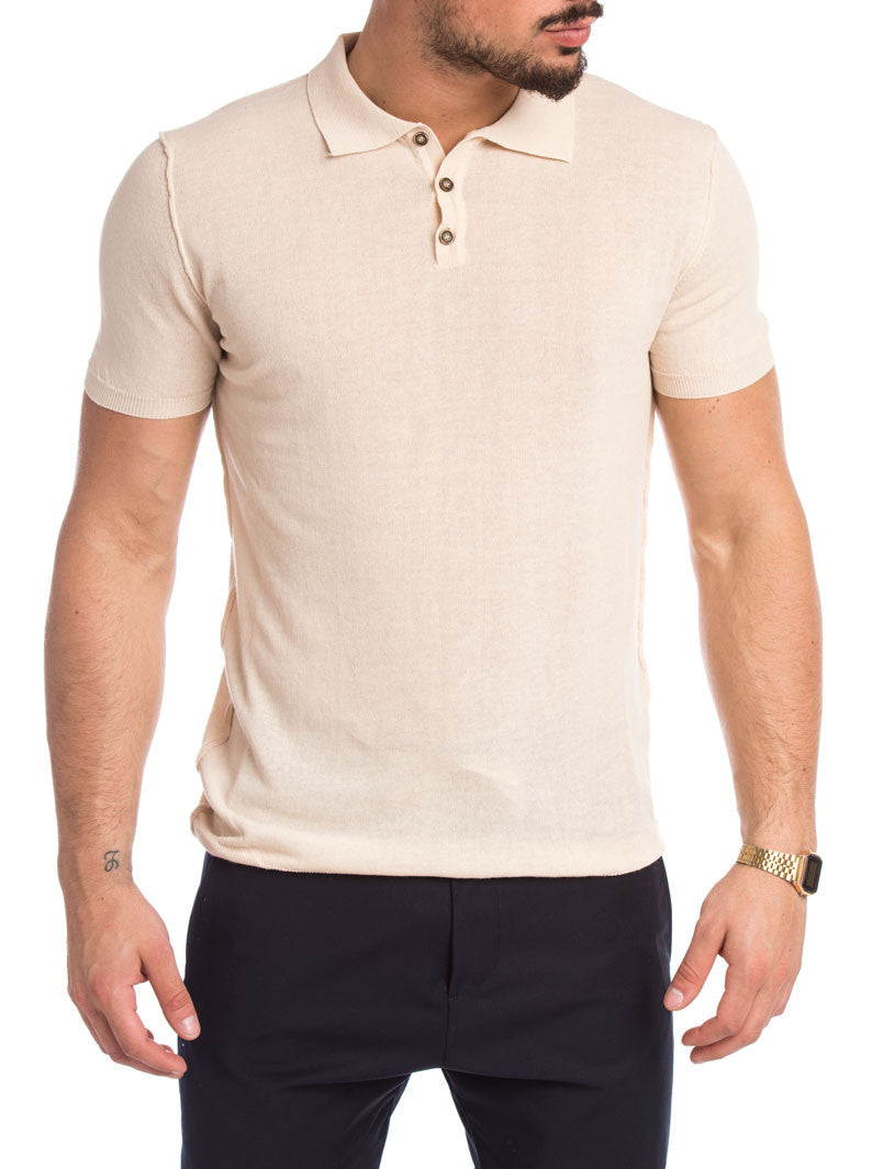 MEN'S CLOTHING | LIGHT CREAM SOLID POLO | POLO T-SHIRT | KNITTED T-SHIRT | COTON KNIT | SHORT SLEEVES | SKINNY FIT | NOHOW STREET COUTURE | NOWHOW