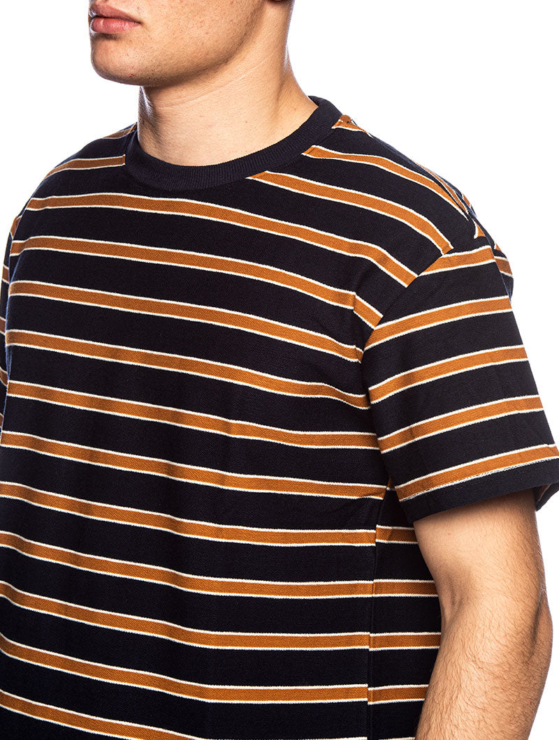 AKIKI STRIPED T-SHIRT IN BLUE AND YELLOW