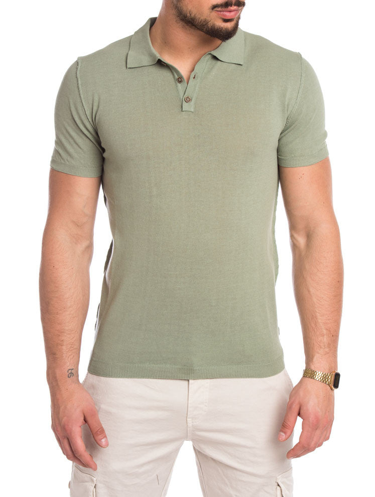 MEN'S CLOTHING | GREEN SOLID POLO | SOLID GREEN | SAGE | POLO T-SHIRT | KNITTED T-SHIRT | COTON KNIT | SHORT SLEEVES | SKINNY FIT | NOHOW STREET COUTURE | NOWHOW