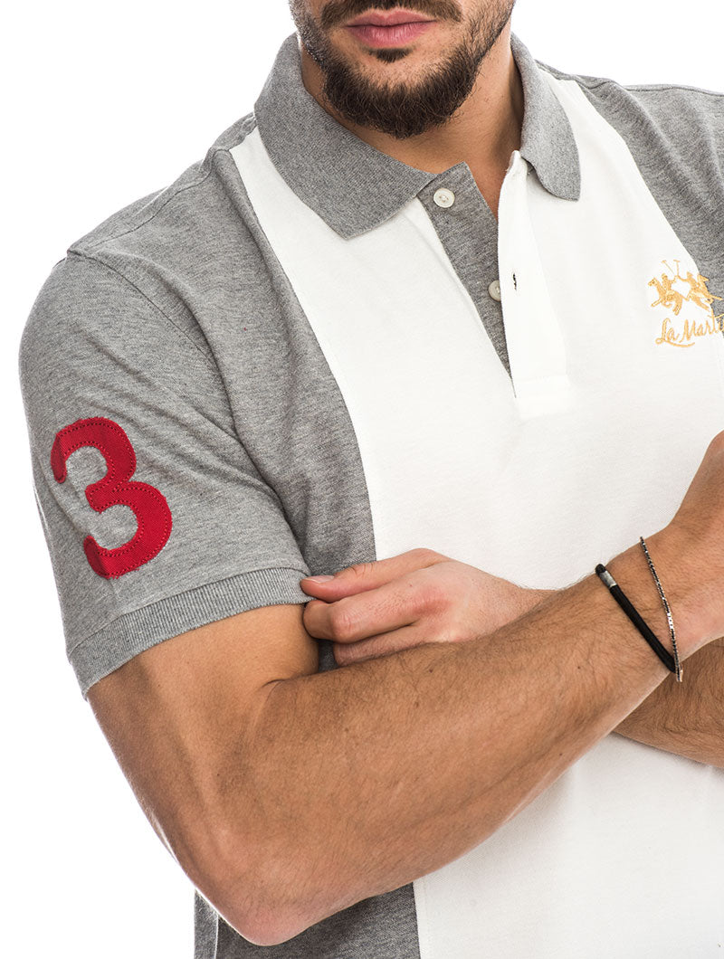 MAN PIQUET MEDIUM HEATHER GREY POLO