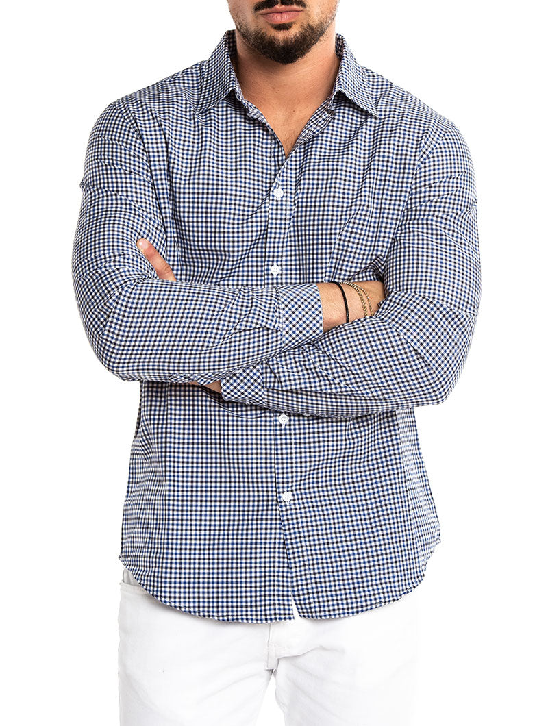 BLUE AND BLACK CHECKED SHIRT