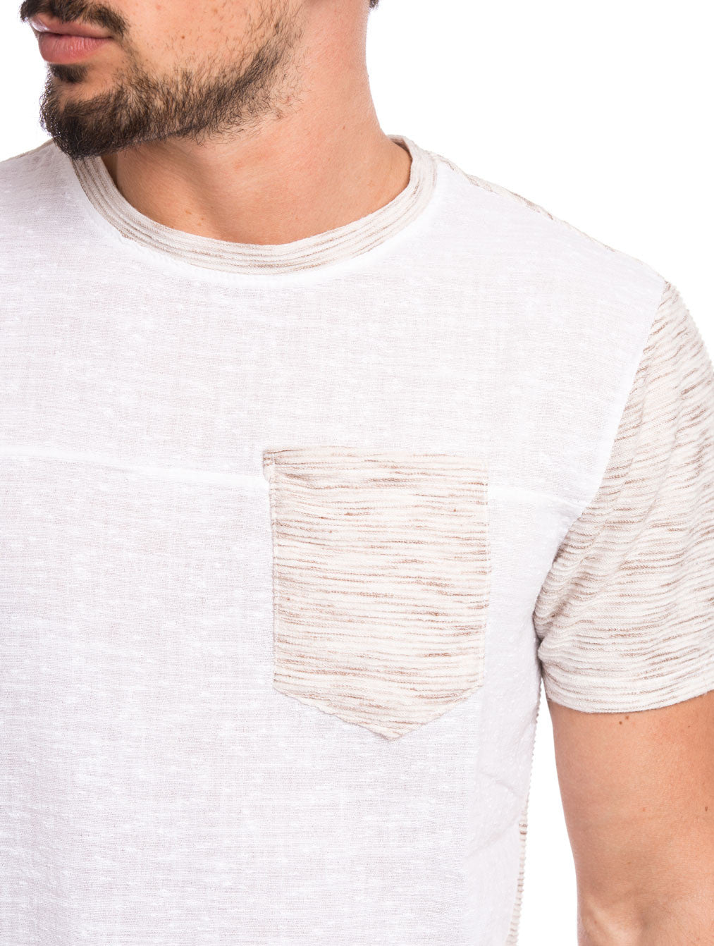 MEN'S CLOTHING | BEIGE AND WHITE POCKET T-SHIRT | LINEN-COTTON | SLIM-FIT | NOHOW