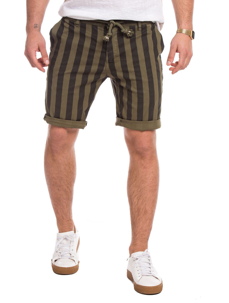 GREEN AND BLACK STRIPED SHORTS