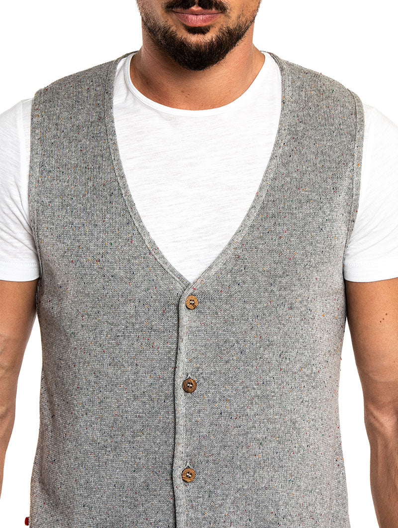 LENI VEST IN GREY MELANGE